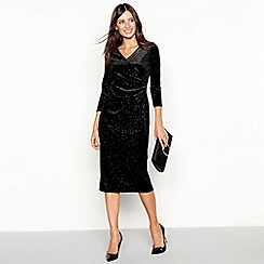 The Collection - Black leopard effect velvet midi dress