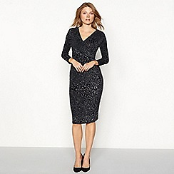 The Collection - Silver glitter leopard print midi dress