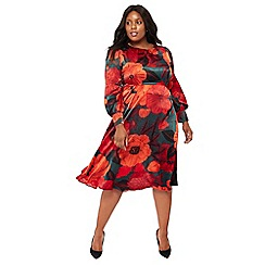 The Collection - Dark green floral print midi plus size dress