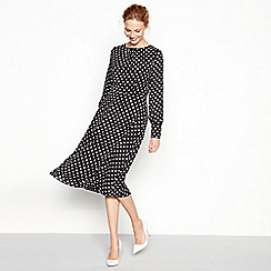 The Collection - Black spot print round neck long sleeve midi dress