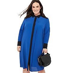 34940c5a7a467 The Collection - Blue contrast chiffon plus size midi shirt dress