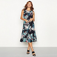 The Collection - Navy palm print chiffon sleeveless midi dress