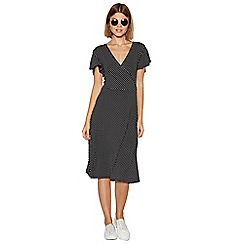 The Collection - Black spotted mock wrap dress