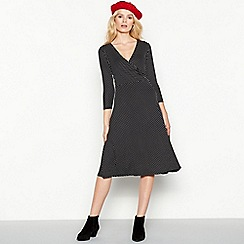 The Collection - Black polka dot print knee length mock wrap dress