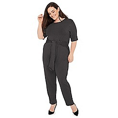The Collection - Black polka dot tie front plus size jumpsuit