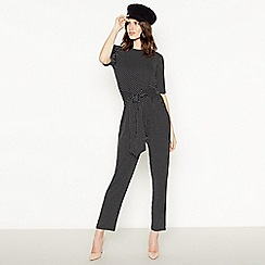 The Collection - Black polka dot tie front jumpsuit
