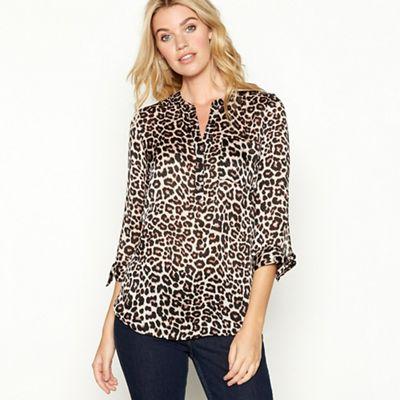 e5df3d8359ef The Collection Brown leopard print V-neck long sleeve blouse   Debenhams
