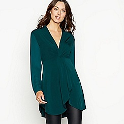 The Collection - Bottle green twist front mini tunic dress