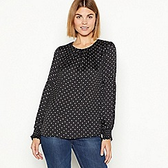 The Collection - Black star print elasticated cuff blouse