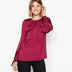 The Collection - Wine ring cuff satin blouse