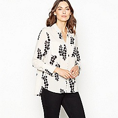 The Collection - Natural fern print dropped hem blouse