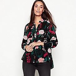 The Collection - Black floral print drophem shirt