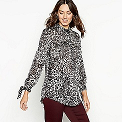The Collection - Natural leopard print grandad shirt
