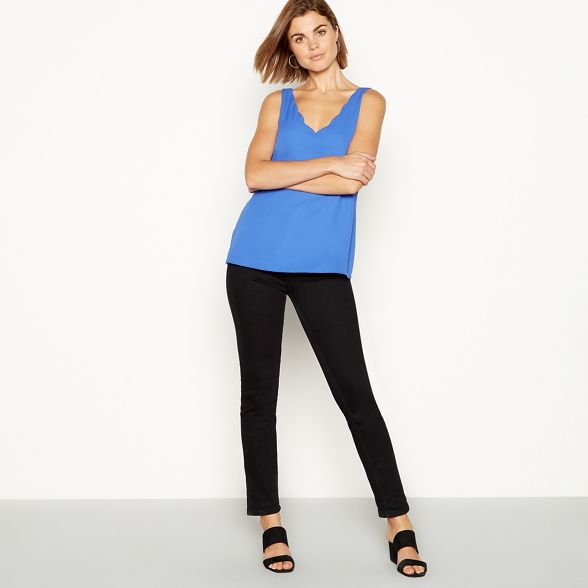 The camisole scalloped Blue chiffon Collection ZAfqp