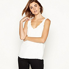 The Collection - Ivory scalloped chiffon camisole