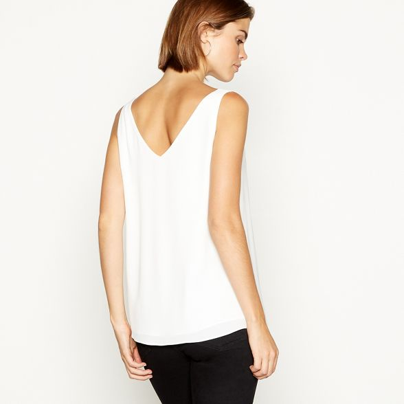 chiffon The Collection Ivory scalloped camisole wZxXAqx