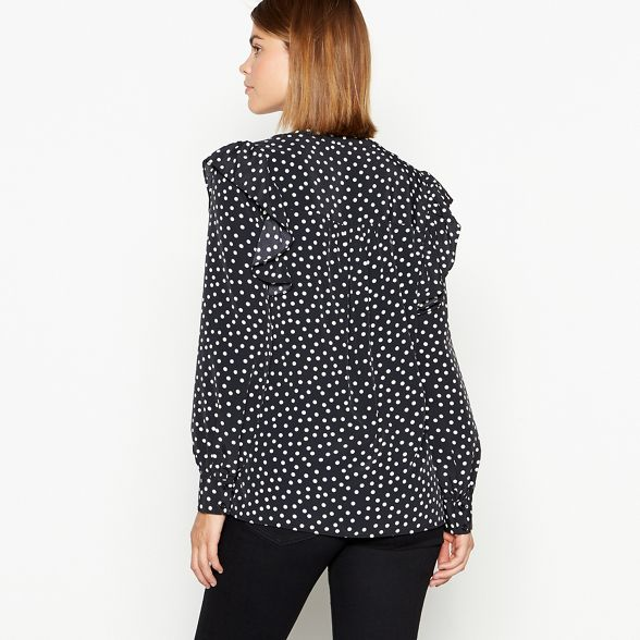 blouse spot print Black ruffle sleeve The Collection EqYxxZ