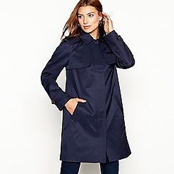 The Collection - Navy hooded cotton blend mac coat
