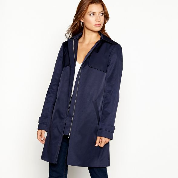 Collection hooded blend Navy cotton The coat mac dqxWEfwdnB