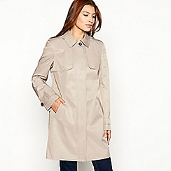 The Collection - Taupe hooded cotton blend mac coat