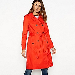 The Collection - Bright red double breasted cotton blend trench coat