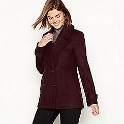The Collection - Maroon double breasted peacoat