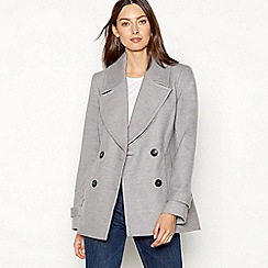 The Collection - Grey double breasted peacoat