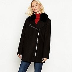 The Collection - Black faux fur collar biker coat