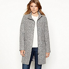 The Collection - Grey boucle collarless coat