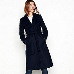 The Collection - Navy double collar belted coat
