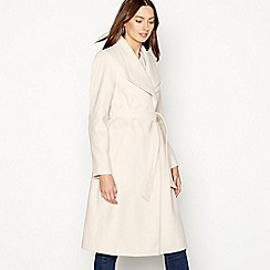 The Collection - Natural double collar belted coat