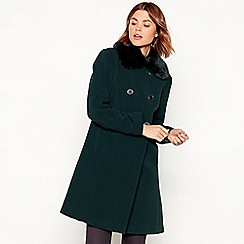 The Collection - Dark green faux fur collar dolly coat