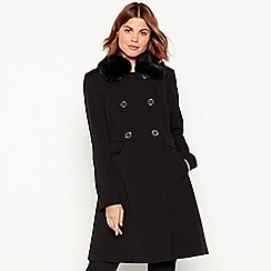 The Collection - Black faux fur collar dolly coat