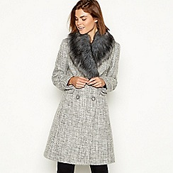 The Collection - Grey fur collar wool coat