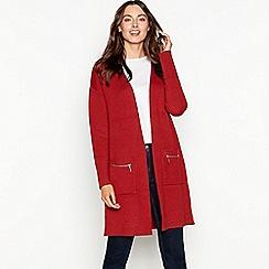 The Collection - Dark orange zip pocket long sleeve coatigan