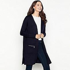 The Collection - Navy zip pocket long sleeve coatigan