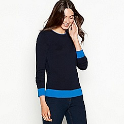 The Collection - Navy zipped shoulder long sleeve jumper