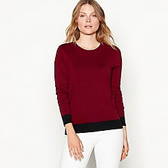 The Collection - Plum zipped shoulder long sleeve jumper