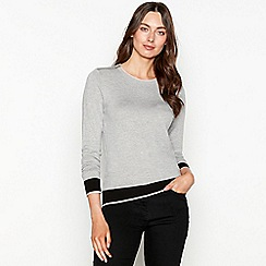 The Collection - Grey zipped shoulder long sleeve jumper