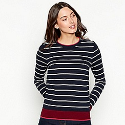 The Collection - Navy stripe print zipped shoulder long sleeve jumper