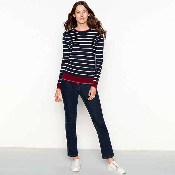 shoulder long jumper print Collection stripe zipped sleeve Navy The gYR8Xq