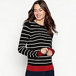 The Collection - Black stripe print zipped shoulder long sleeve jumper
