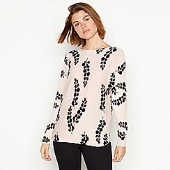 The Collection - Pale pink bluebell print batwing jumper