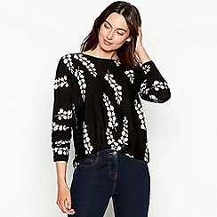The Collection - Black floral print batwing jumper
