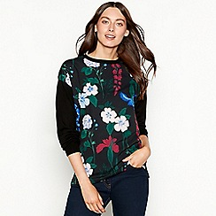 The Collection - Black floral print long sleeve jumper
