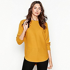 The Collection - Mustard batwing ribbed knit long sleeve jumper