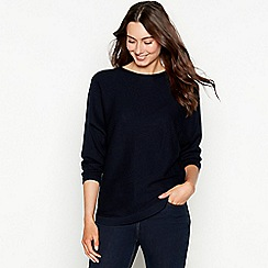 The Collection - Navy batwing ribbed knit long sleeve jumper