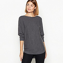 The Collection - Light grey batwing ribbed knit long sleeve jumper