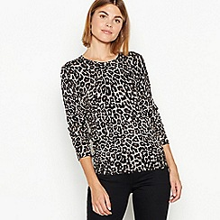 The Collection - Brown leopard print crew neck jumper