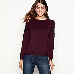 The Collection - Wine lace sleeve jumper